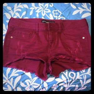Express Shorts - Express Maroon Denim Shorts, cute and and fitted!